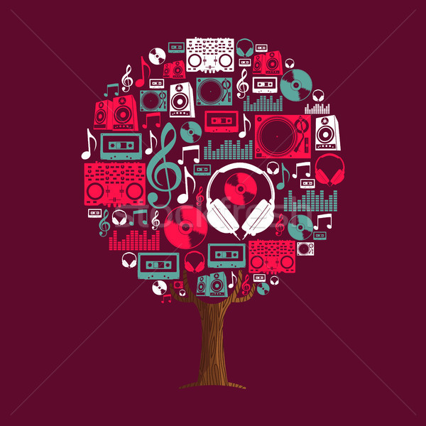 Music tree concept with party dj icon set  Stock photo © cienpies