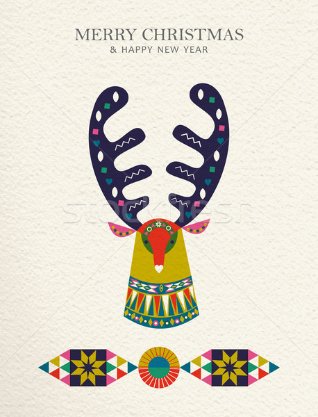Christmas and New Year reindeer folk art card Stock photo © cienpies