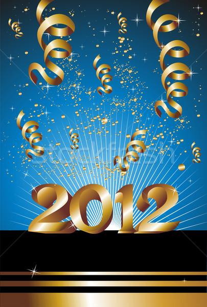 Happy new year 2012 bleu célébration nouvelle année or Photo stock © cienpies