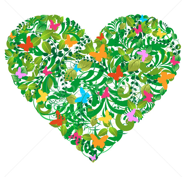 Stock photo: Green floral spring and summer love