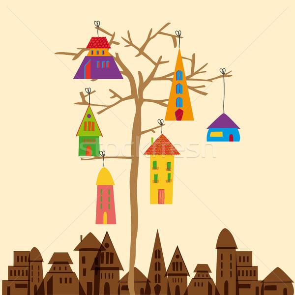 Сток-фото: мало · города · дерево · прозрачный · eps10