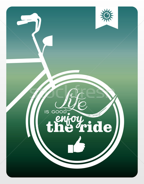 Retro life style bicycle poster. Stock photo © cienpies
