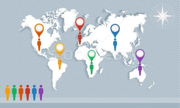 World map, geo pointers and men figures EPS10 vector file. Stock photo © cienpies