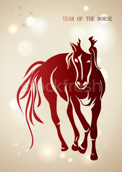 Red Chinese New Year of horse 2014 background Stock photo © cienpies