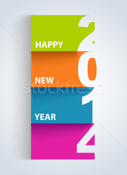 Happy New Year 2014 colorful number tag Stock photo © cienpies