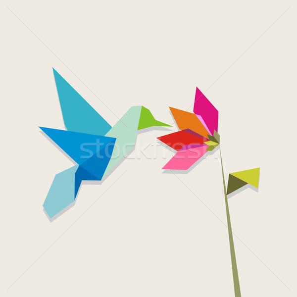 Origami kolibri virág pasztell színek szín Stock fotó © cienpies