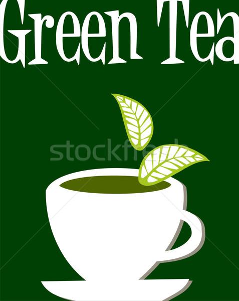 Zöld tea címke fehér csésze tele levelek Stock fotó © cienpies