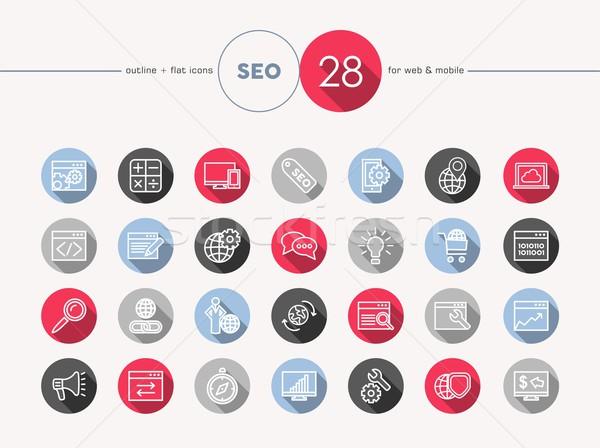 Seo web flat icons outline style set Stock photo © cienpies