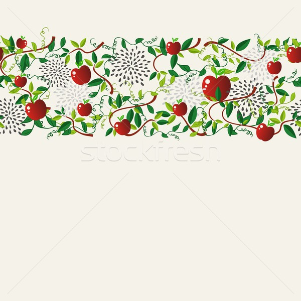 Red apple food seamless pattern garland Stock photo © cienpies