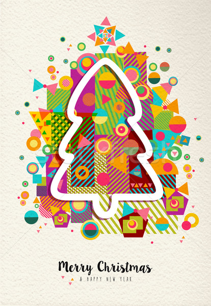 Merry christmas new year colorful fun tree outline Stock photo © cienpies