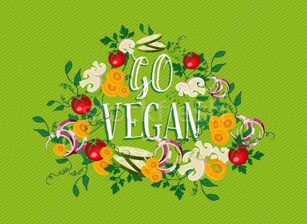 Go Vegan food illustration with vegetable elements Stock photo © cienpies