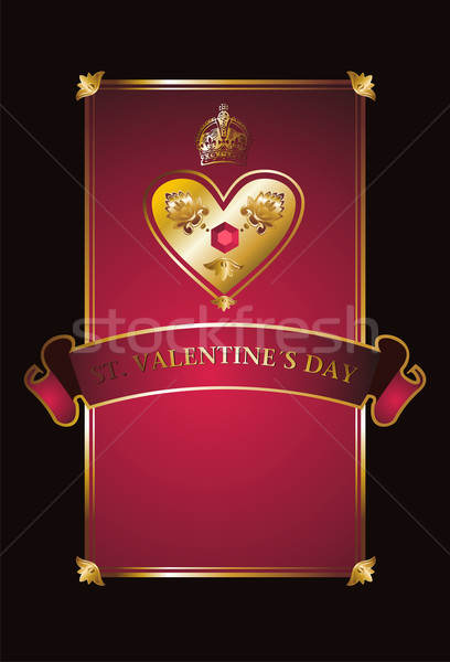 Golden Valentine background with diamond heart.  Stock photo © cienpies