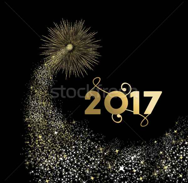 Happy new year 2017 gold firework design Stock photo © cienpies