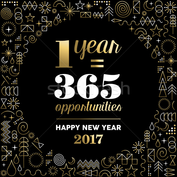 New Year 2017 gold design with happy quote Stock photo © cienpies