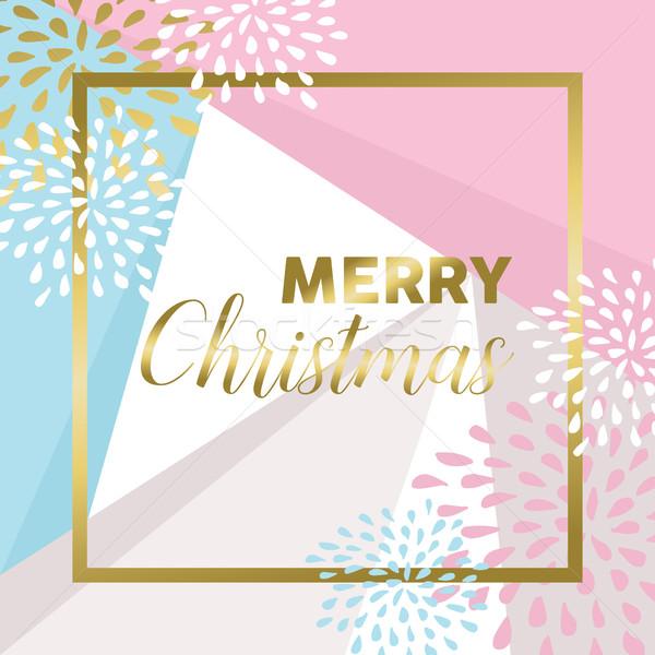 金 陽気な クリスマス デザイン グリーティングカード 現代 ストックフォト © cienpies