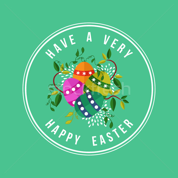 Happy Easter card design for spring holiday Stock photo © cienpies