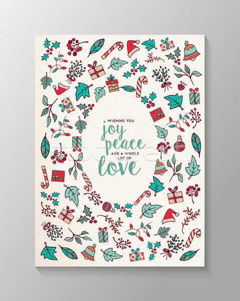 Merry Christmas cute doodle decoration icons card Stock photo © cienpies