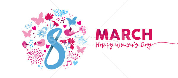 March 8th Womens Day pink flower banner design Stock photo © cienpies