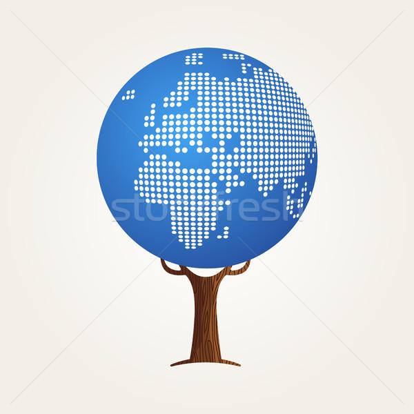 Európa világtérkép globális kommunikáció fa Afrika illusztráció Stock fotó © cienpies