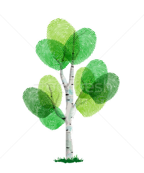 Green finger print tree for nature help Stock photo © cienpies