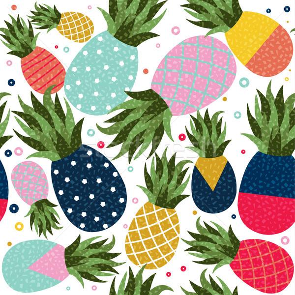 ананаса фрукты цвета шаблон иллюстрация Сток-фото © cienpies
