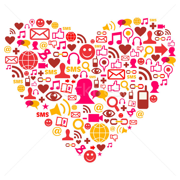 Social media icons in heart shape Stock photo © cienpies