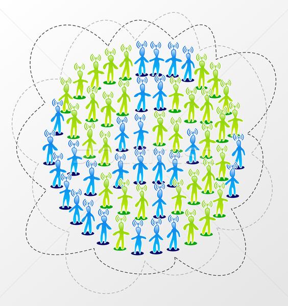 Globális közösségi média hálózat kapcsolat világ férfi Stock fotó © cienpies