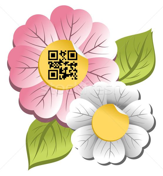 Voorjaar tijd bloem qr code label kleurrijk Stockfoto © cienpies