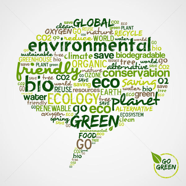 Go Green. Social media bubble with green words cloud  Stock photo © cienpies