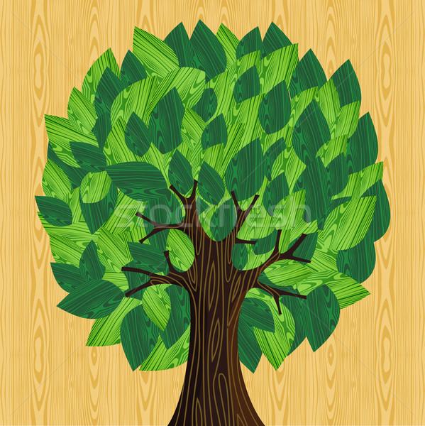 Környezetbarát fa zöld fából készült levelek illusztráció Stock fotó © cienpies