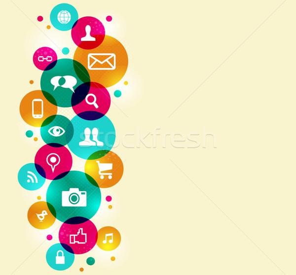 ストックフォト: ソーシャルメディア · カラフル · サークル · eps10 · ファイル