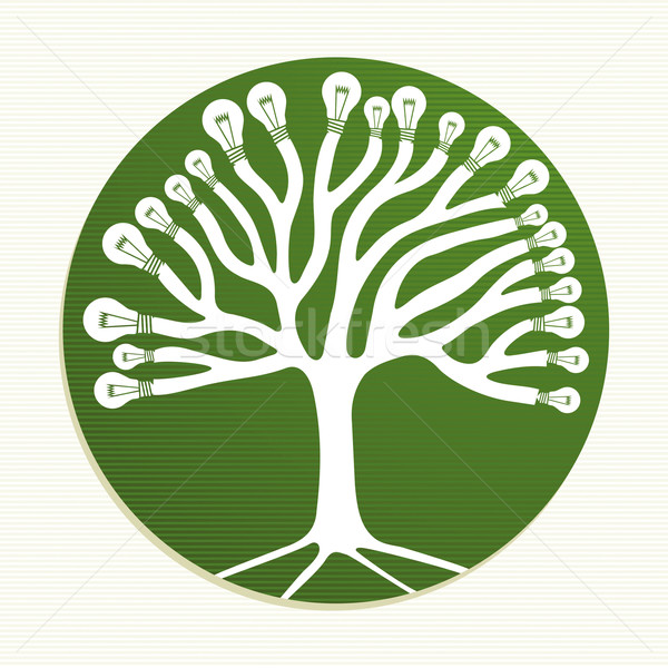 Green circle recycle tree illustration Stock photo © cienpies