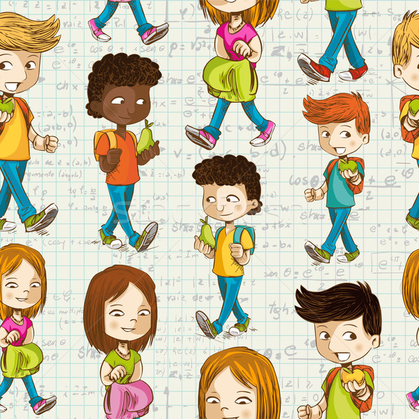 Back to School Cartoon kids education seamless pattern. Stock photo © cienpies