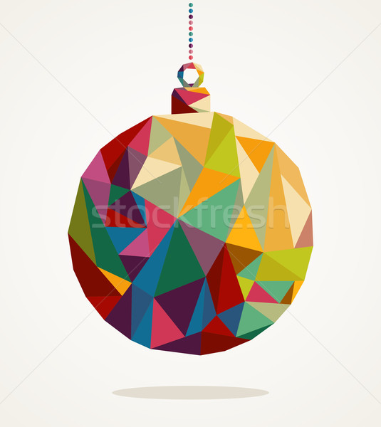 Merry Christmas circle bauble with triangle composition EPS10 fi Stock photo © cienpies