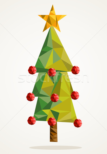 Merry Christmas tree triangle composition EPS10 file. Stock photo © cienpies