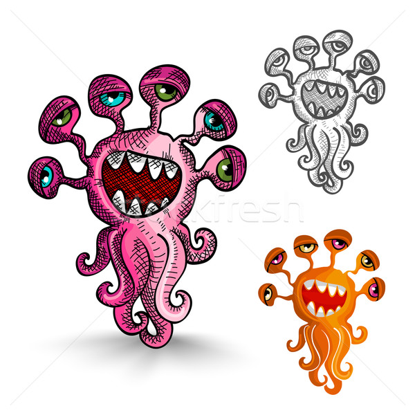 Halloween monsters isolated spooky creatures set. Stock photo © cienpies