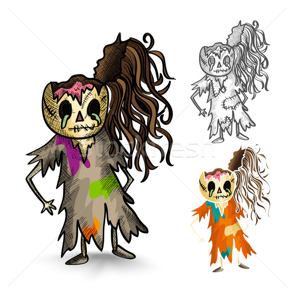 Halloween monsters isolated sketch style zombies set. Stock photo © cienpies