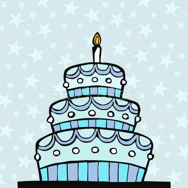 Açık mavi doğum günü pastası mavi Yıldız doğum günü çikolata Stok fotoğraf © cienpies