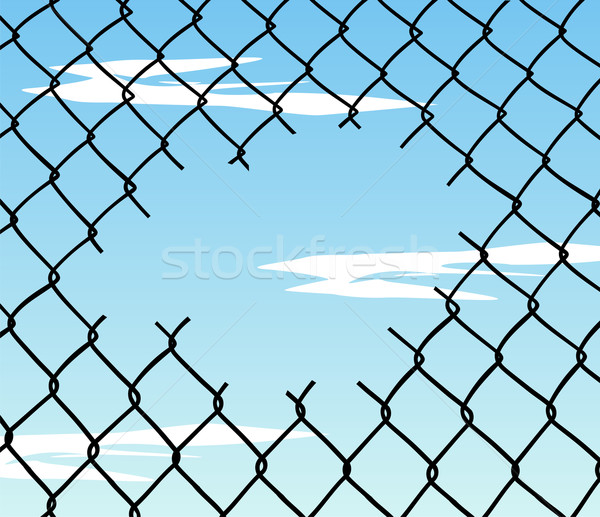 Cut wire fence with blue sky background Stock photo © cienpies
