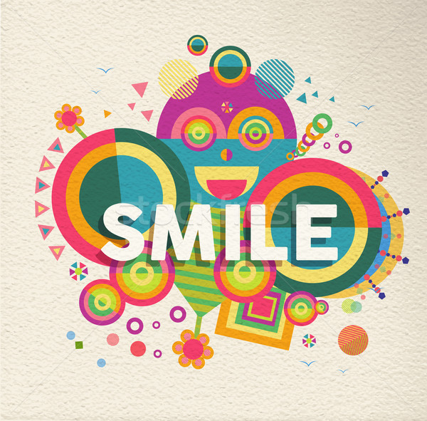 Smile inspirational quote poster design Stock photo © cienpies
