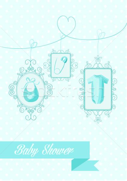 Bebê chuveiro menino enforcamento elementos azul Foto stock © cienpies