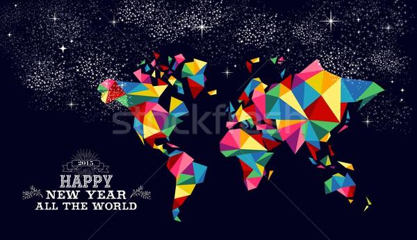 Foto stock: Ano · novo · 2015 · mapa · do · mundo · cartão · feliz · ano · novo · cartão