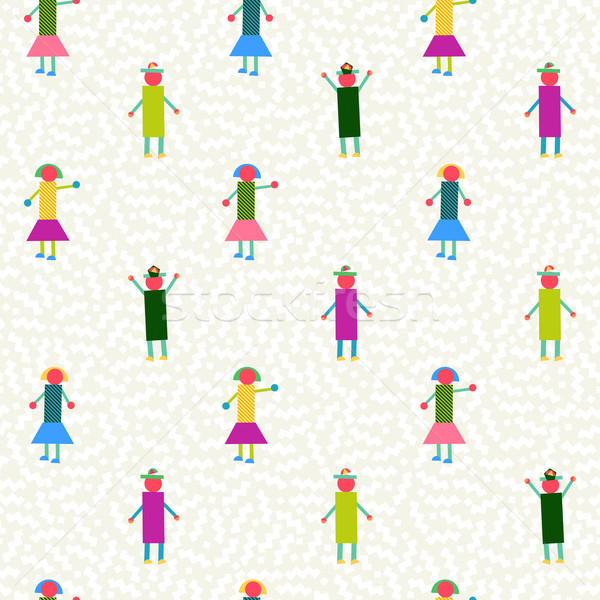Seamless pattern people geometry colorful Stock photo © cienpies