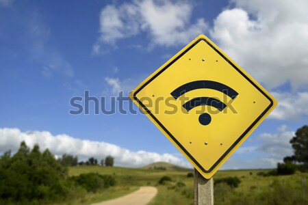 Eat natural organic food concept road sign icon Stock photo © cienpies