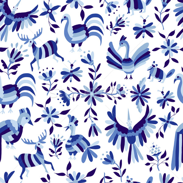 Pattern of animal and flower in blue indigo color Stock photo © cienpies