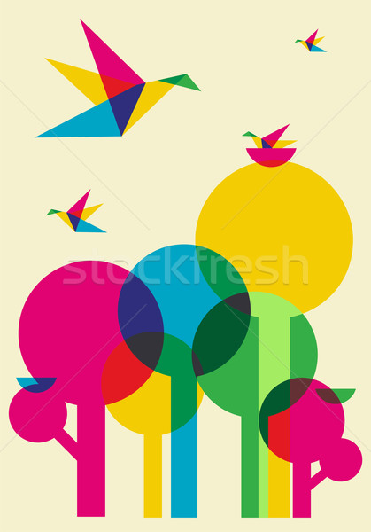 Spring time humming birds and trees Stock photo © cienpies