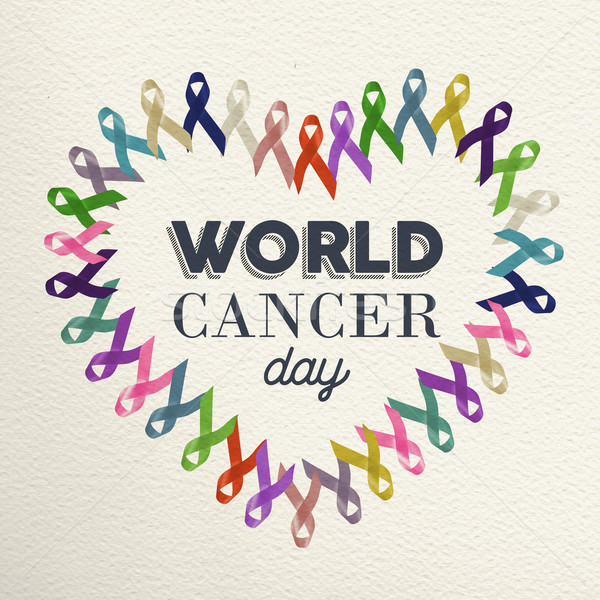 World cancer day heart shape design with ribbon Stock photo © cienpies