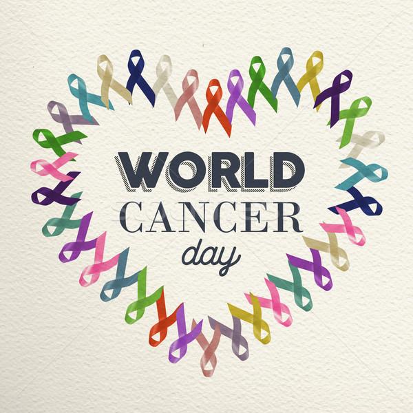Dünya kanser gün kalp şekli dizayn şerit Stok fotoğraf © cienpies