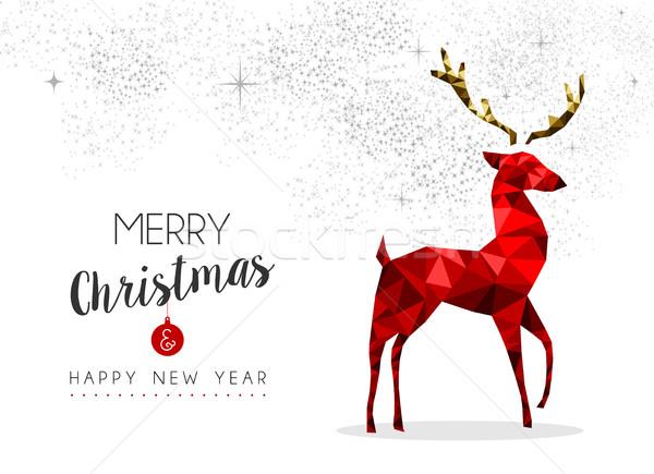 Kırmızı ren geyiği dekorasyon Noel yılbaşı neşeli Stok fotoğraf © cienpies