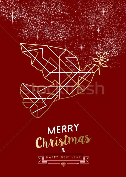 Wesoły christmas nowy rok pokoju dove Zdjęcia stock © cienpies